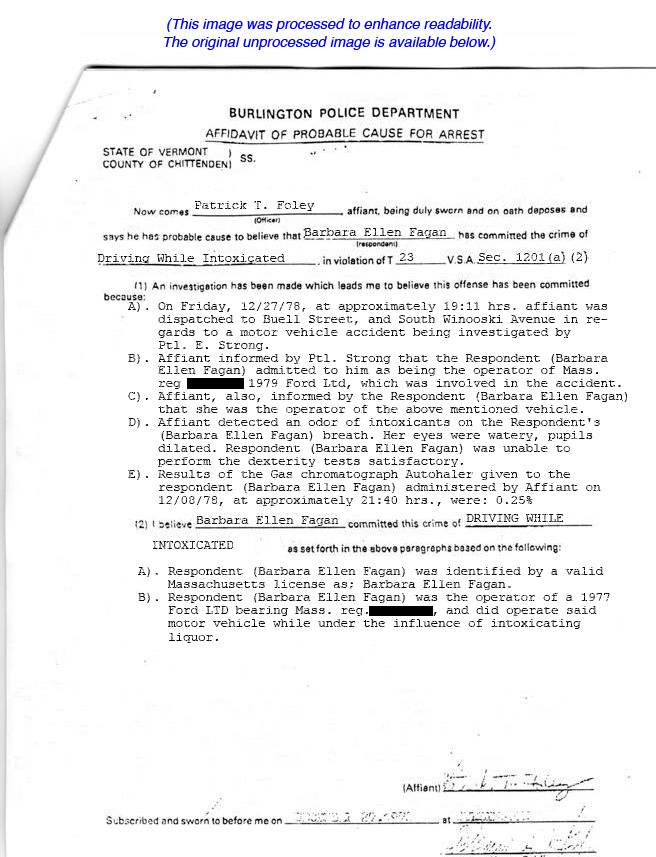 Barbara Kurth DUI #2 12/08/78 Page 1 of 7