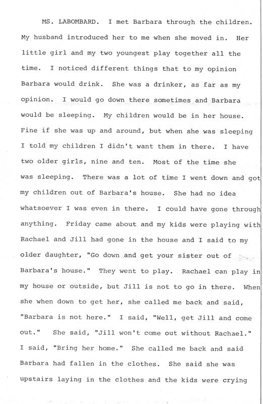 Helenmary Wilk and Sandra LaBombard (neighbors of Barbara Kurth)  Page 6 of 7