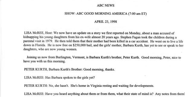 Good Morning America Interview of Peter Kurth 4/23/98 page 1 of 2