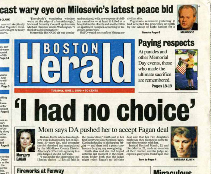 Boston Herald 06/01/99 Page 1 of 2