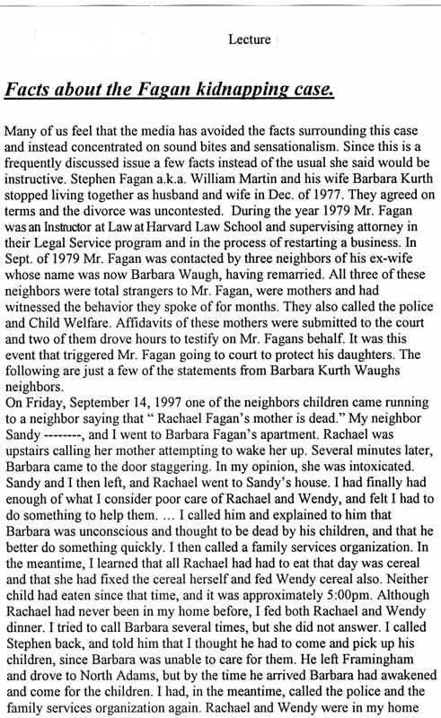 Fact sheet on Stephen Fagan case 1999 Page 1 of 4