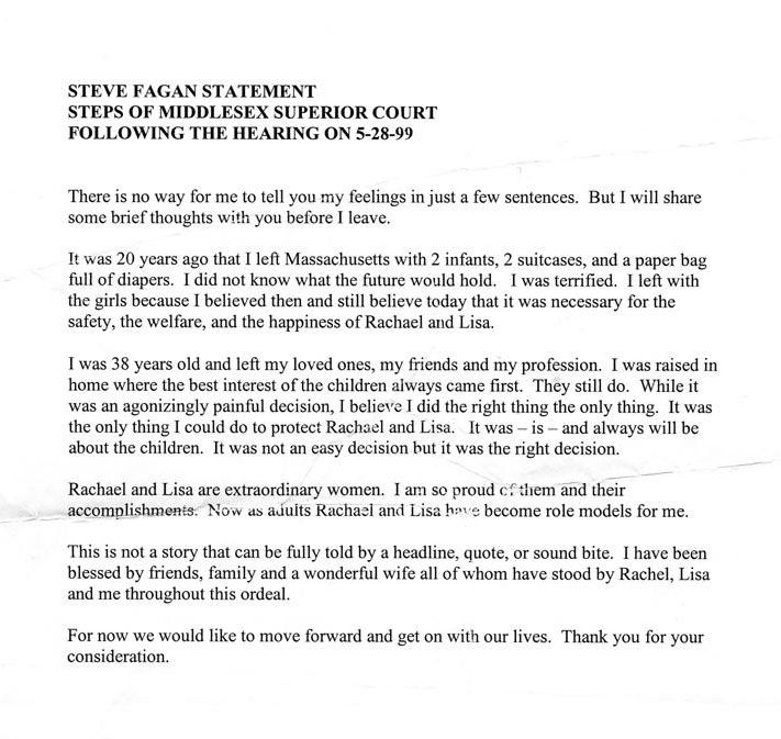 Stephen Fagan's statement after plea hearing 05/28/99 Page 1 of 1