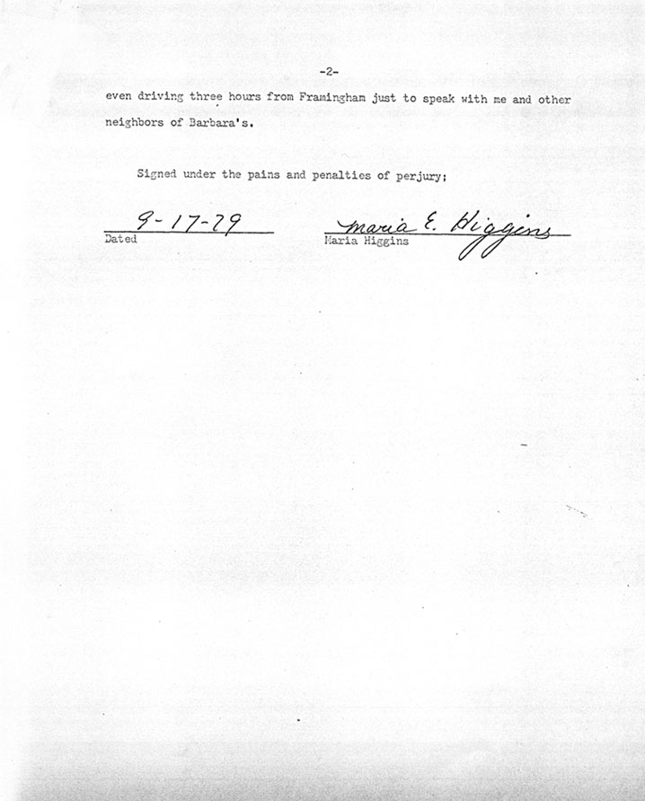 Affidavit of Maria Higgins (neighbor of Barbara Kurth) 09/17/79 Page 2 of 2